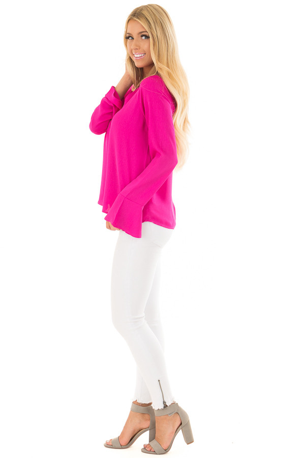 Magenta Long Sleeve Top with V Cut Out side full body