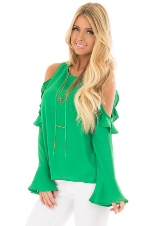 Kelly Green Cold Shoulder Top with Ruffle Detail front closeup