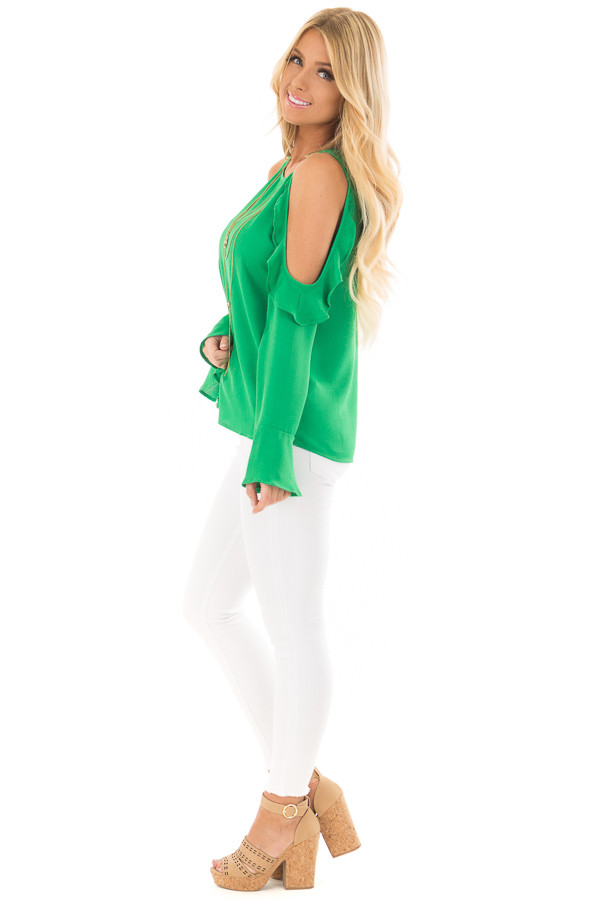 Kelly Green Cold Shoulder Top with Ruffle Detail side full body