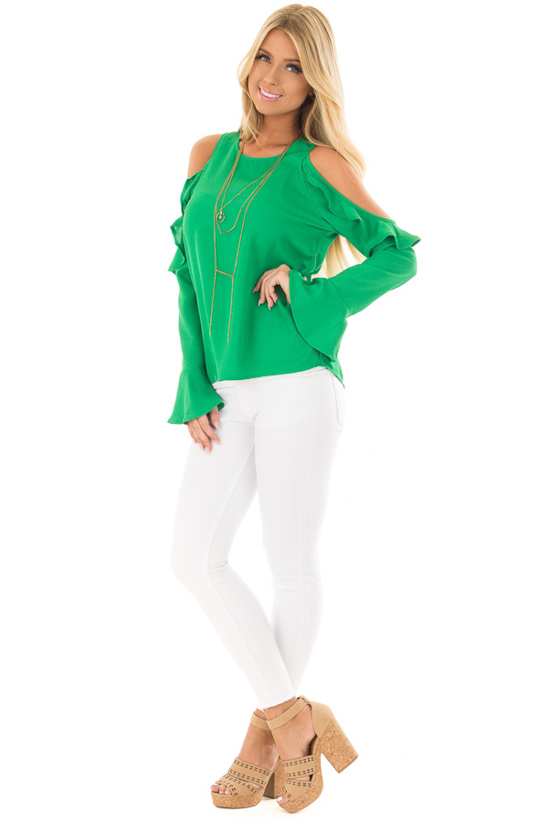 Kelly Green Cold Shoulder Top with Ruffle Detail front full body