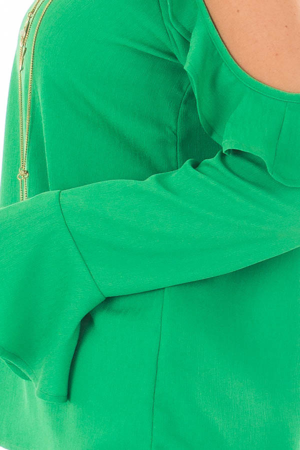 Kelly Green Cold Shoulder Top with Ruffle Detail side detail