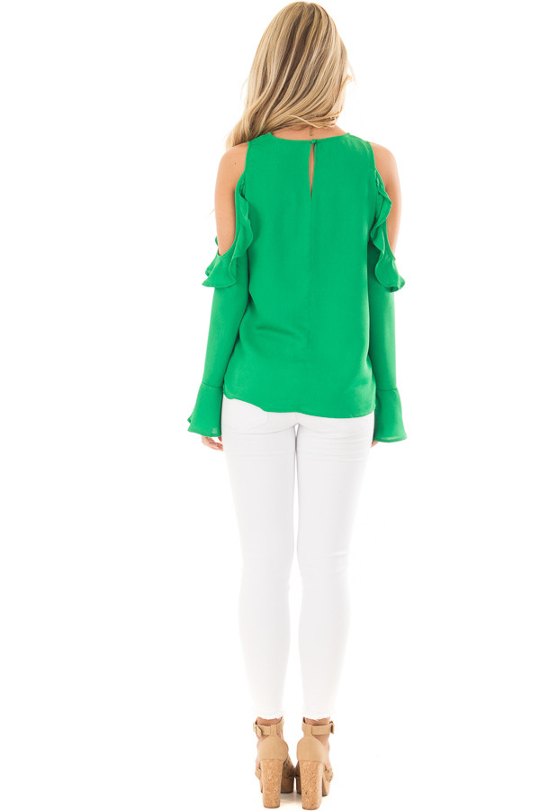 Kelly Green Cold Shoulder Top with Ruffle Detail back full body