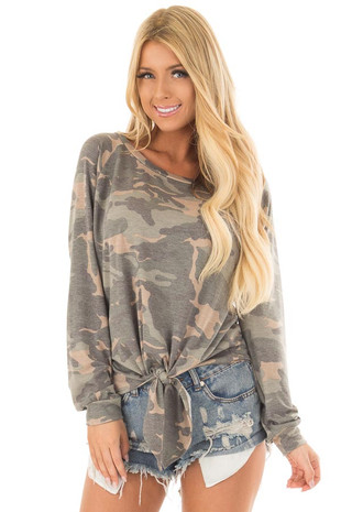 Olive Camo Print Long Sleeve Top with Front Tie Detail front close up
