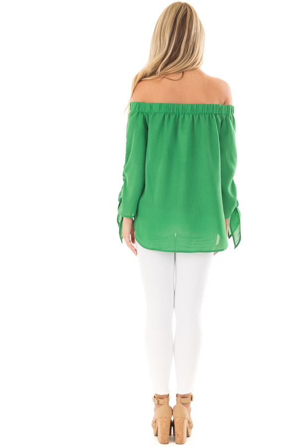 Emerald Off the Shoulder Top with Self Tie Sleeves back full body