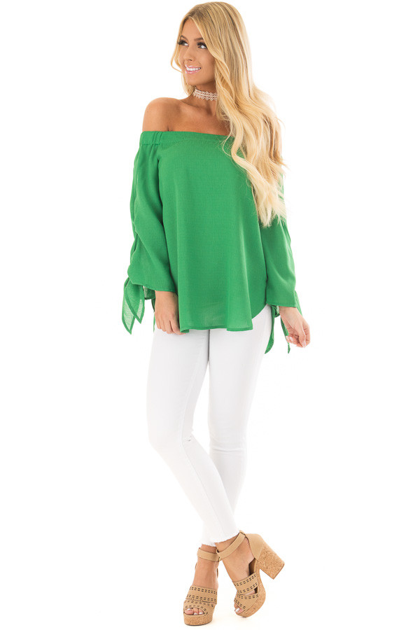 Emerald Off the Shoulder Top with Self Tie Sleeves front full body