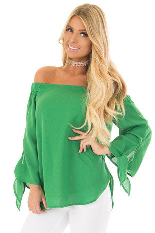 Emerald Off the Shoulder Top with Self Tie Sleeves front closeup