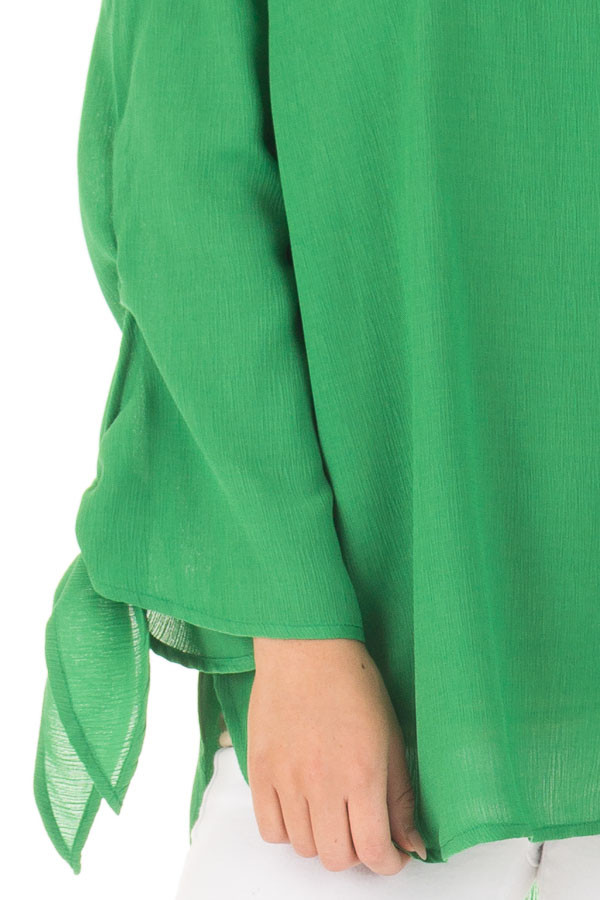 Emerald Off the Shoulder Top with Self Tie Sleeves front detail