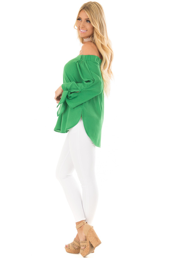 Emerald Off the Shoulder Top with Self Tie Sleeves side full body