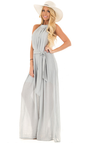 Seafoam Halter Neckline Jumpsuit with Waist Tie front full body
