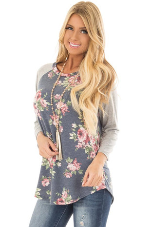 Navy Floral Print Raglan Top with Heather Grey Contrast front close up