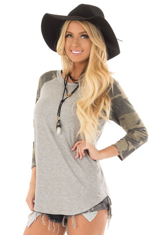 Heather Grey Raglan Top with Camo Sleeves front close up