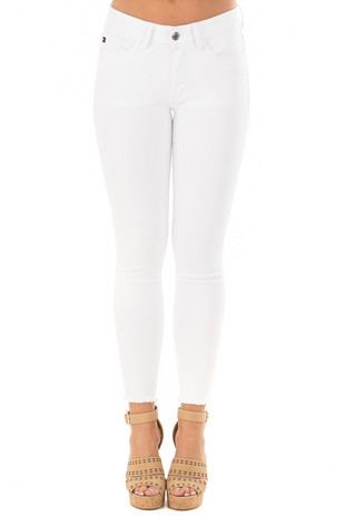 White Skinny Jeans with Frayed Edge Detail front view