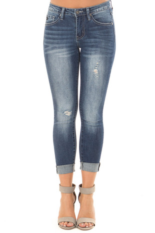 Dark Wash Distressed Cropped Denim Jeans front view