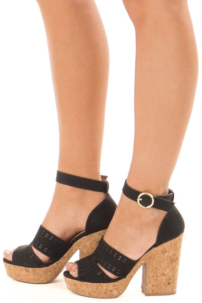 Black and Cork Open Toe High Heels with Ankle Strap side view
