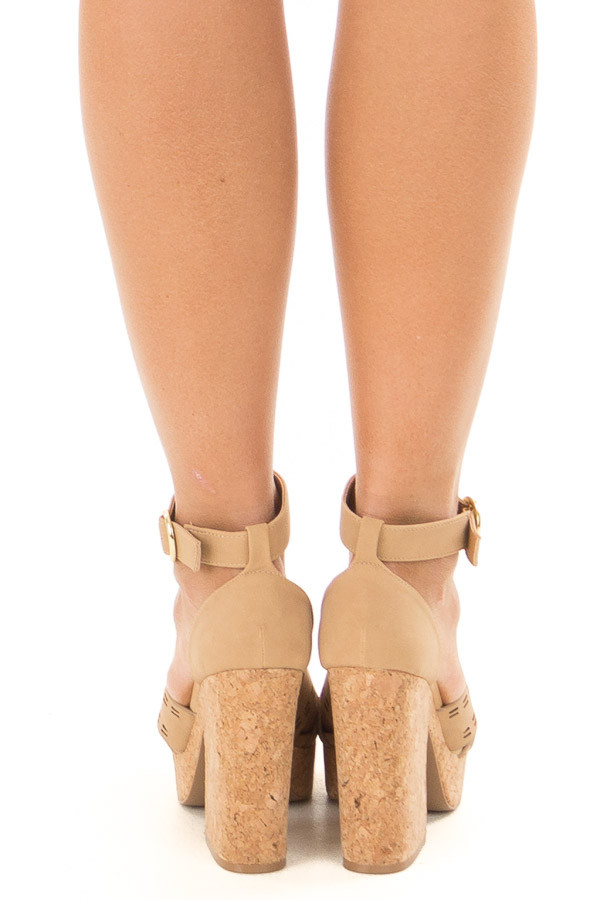 Tan and Cork Open Toe High Heels with Ankle Strap back view