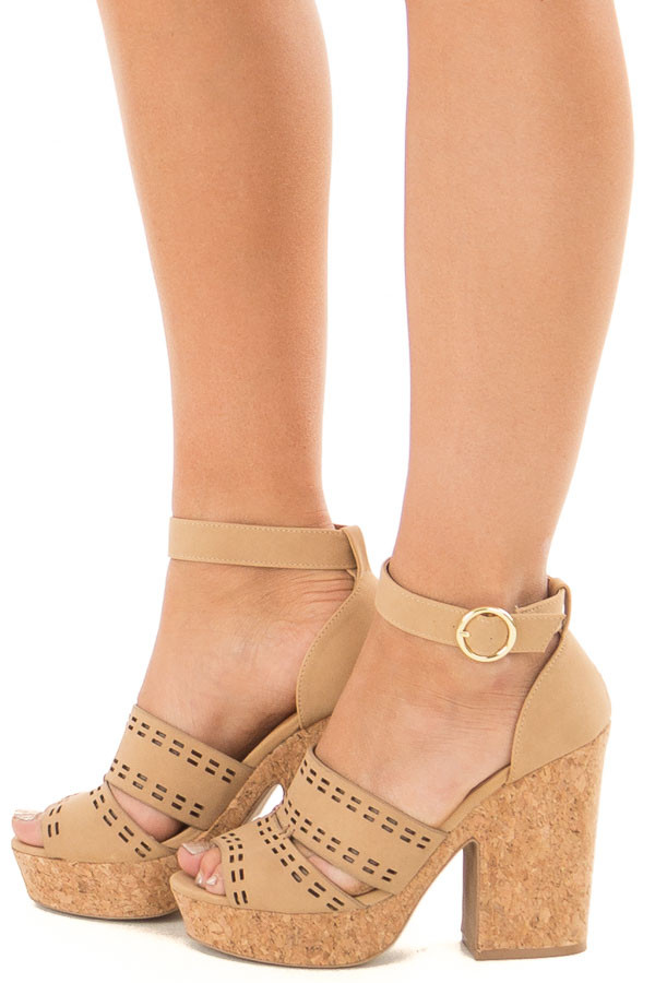 Tan and Cork Open Toe High Heels with Ankle Strap side view