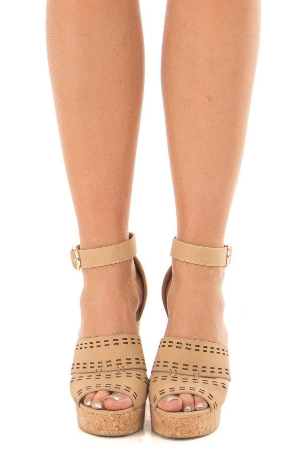 Tan and Cork Open Toe High Heels with Ankle Strap front view