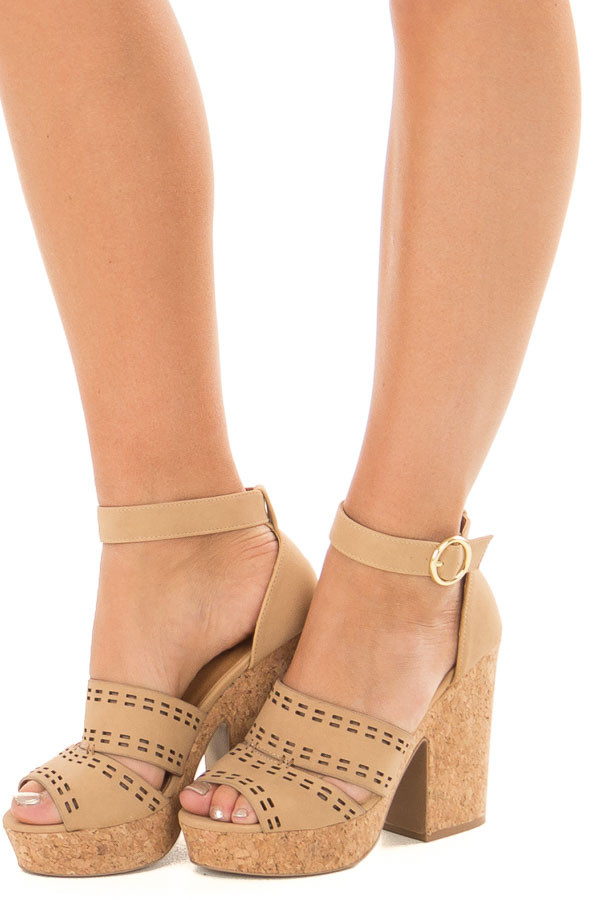 Tan and Cork Open Toe High Heels with Ankle Strap front side view