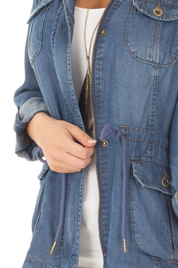 Dark Wash Denim Zip Up Light Weight Jacket detail