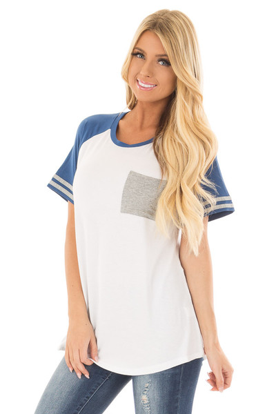 Off White and Royal Blue Baseball Tee with Grey Details front close up