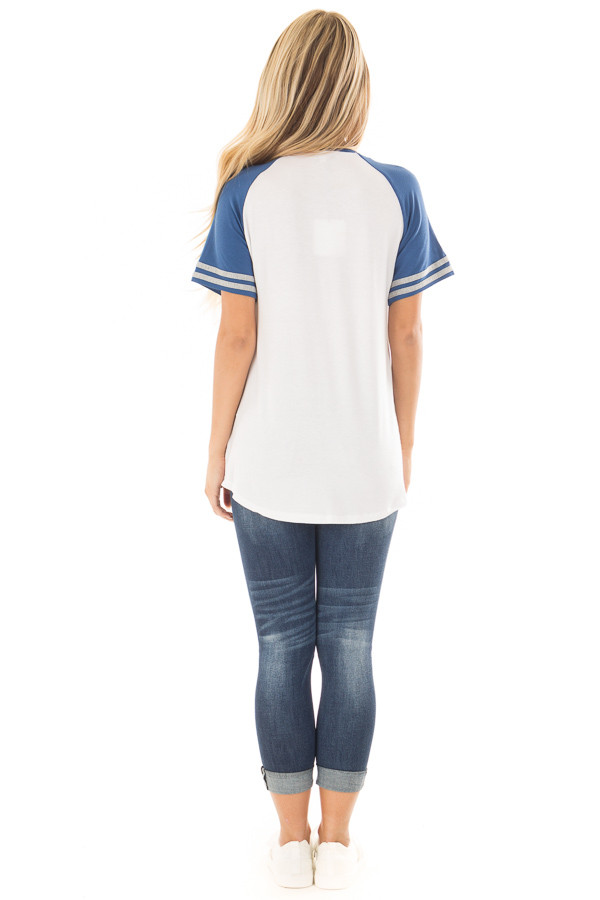 Off White and Royal Blue Baseball Tee with Grey Details back full body