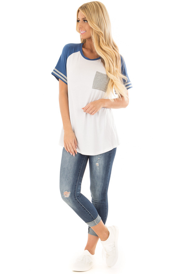 Off White and Royal Blue Baseball Tee with Grey Details front full body
