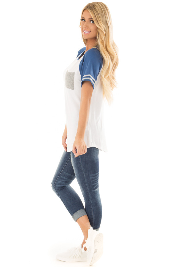 Off White and Royal Blue Baseball Tee with Grey Details side full body