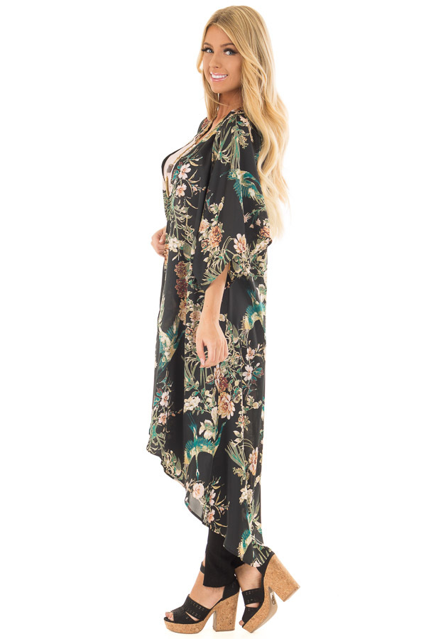 Black and Emerald Silky Floral Print Long Kimono side full body
