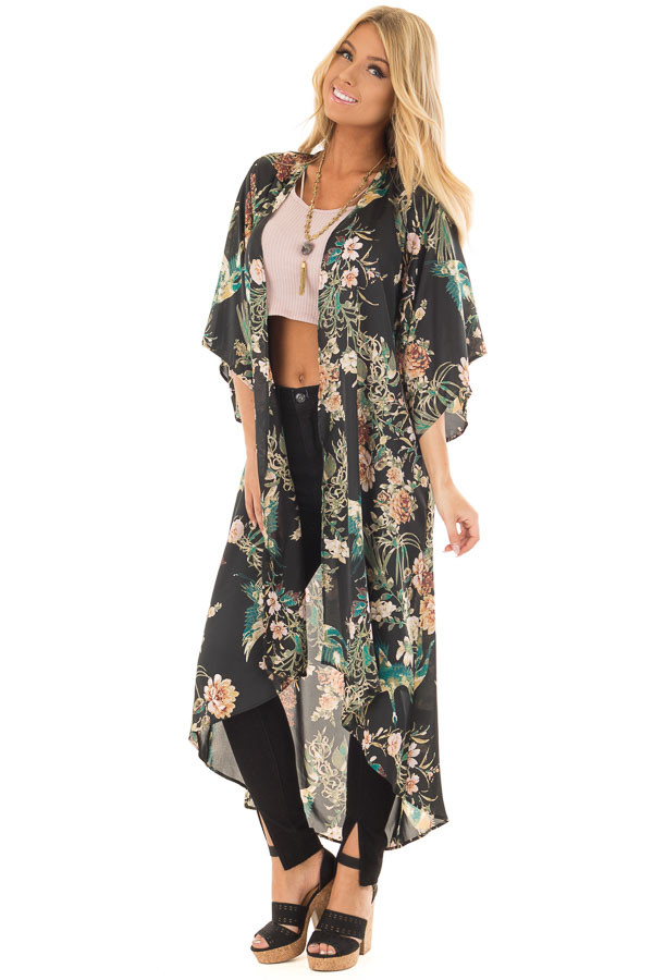 Black and Emerald Silky Floral Print Long Kimono front full body
