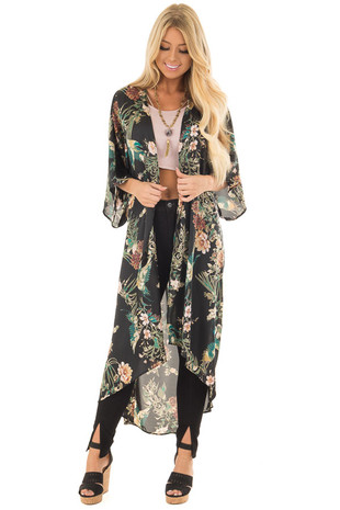 Black and Emerald Silky Floral Print Long Kimono front close up