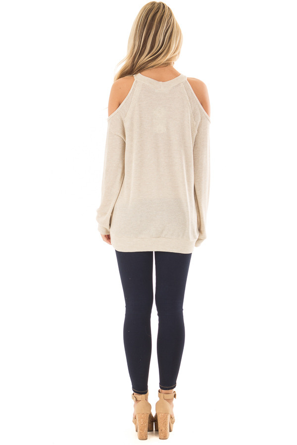 Oatmeal Waffle Knit Cold Shoulder Top back full body