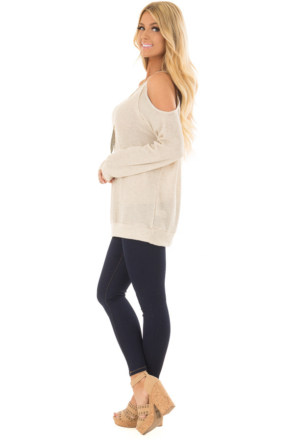 Oatmeal Waffle Knit Cold Shoulder Top side full body