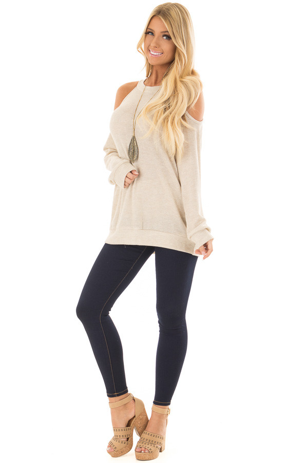 Oatmeal Waffle Knit Cold Shoulder Top front full body