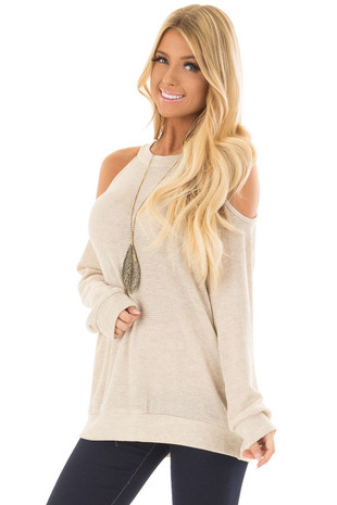 Oatmeal Waffle Knit Cold Shoulder Top front closeup
