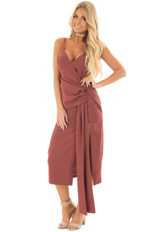 Cinnamon Spaghetti Strap Surplice Dress front full body