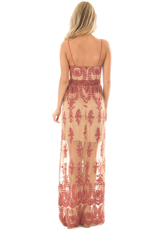 Nude Maxi Dress with Mauve Floral Design back full body