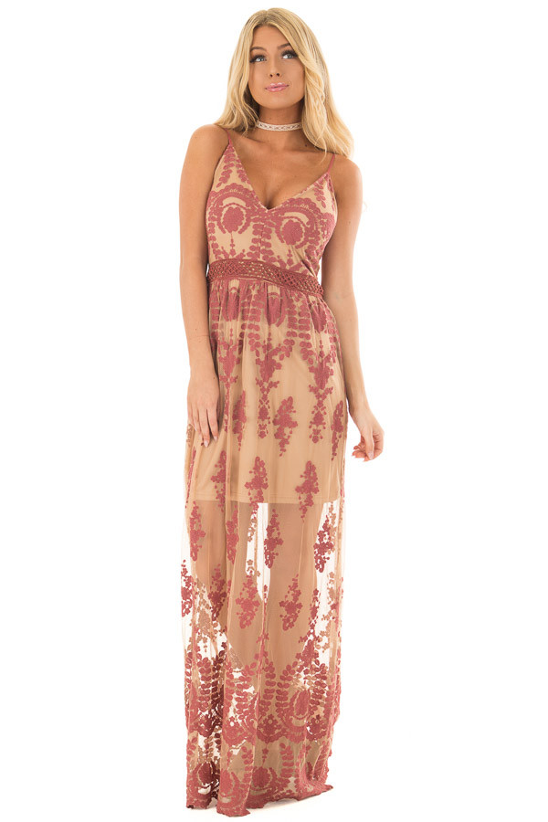 Nude Maxi Dress with Mauve Floral Design front full body