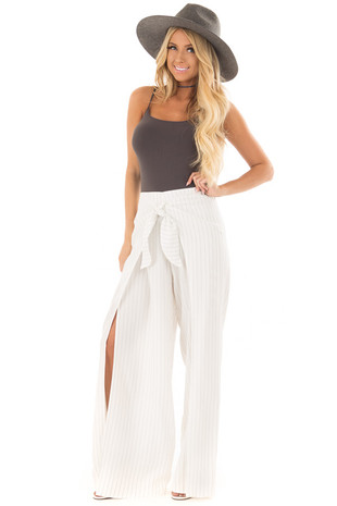 White Pinstripe Open Side Pants with Waist Tie Detail front full body