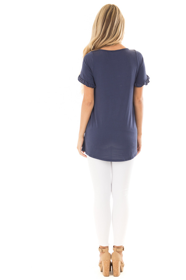 Navy Top with Ruffle Tulip Sleeves back full body