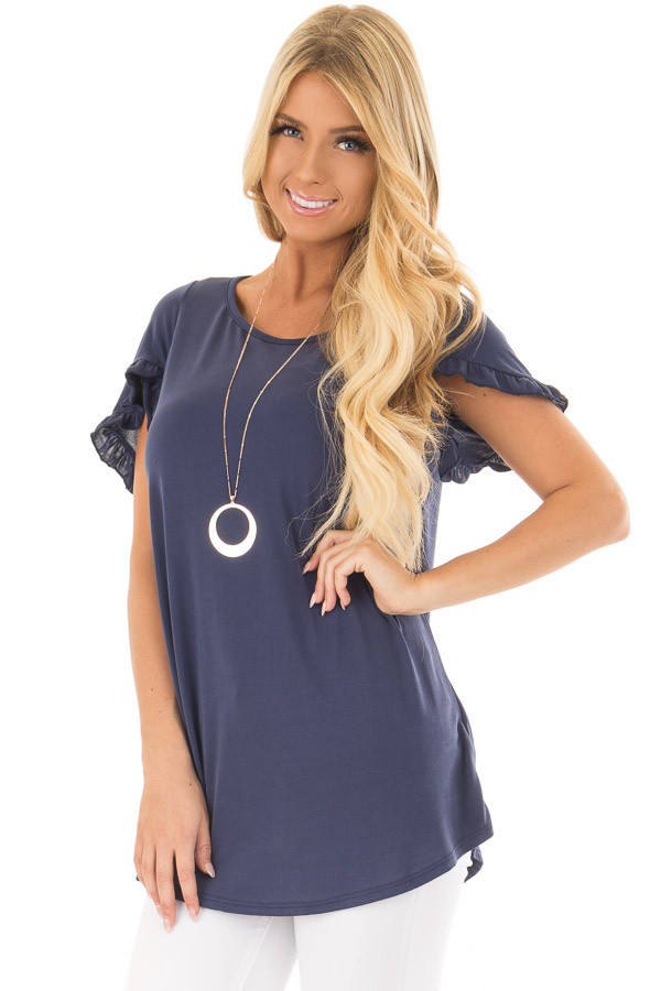 Navy Top with Ruffle Tulip Sleeves front closeup