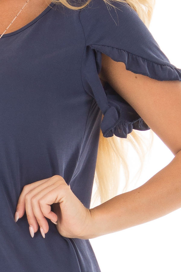 Navy Top with Ruffle Tulip Sleeves front detail