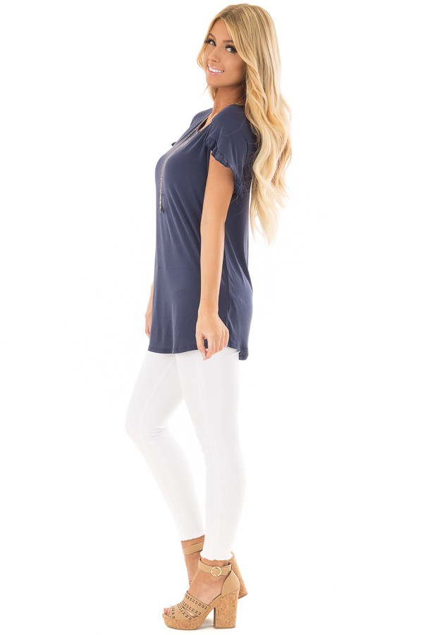 Navy Top with Ruffle Tulip Sleeves side full body