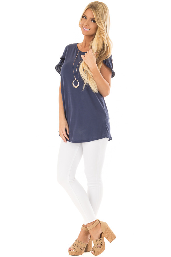 Navy Top with Ruffle Tulip Sleeves front full body