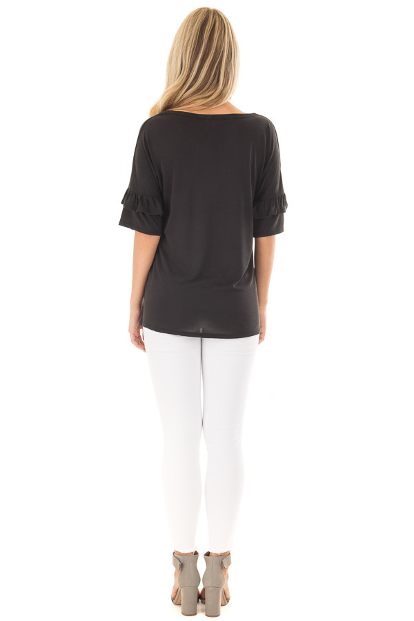 Black Top with Ruffle Detail Sleeves back full body