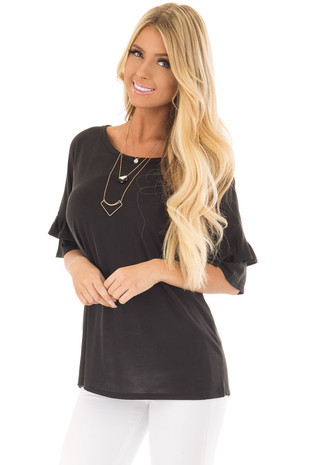 Black Top with Ruffle Detail Sleeves front closeup