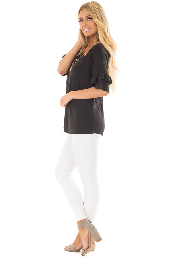 Black Top with Ruffle Detail Sleeves side full body