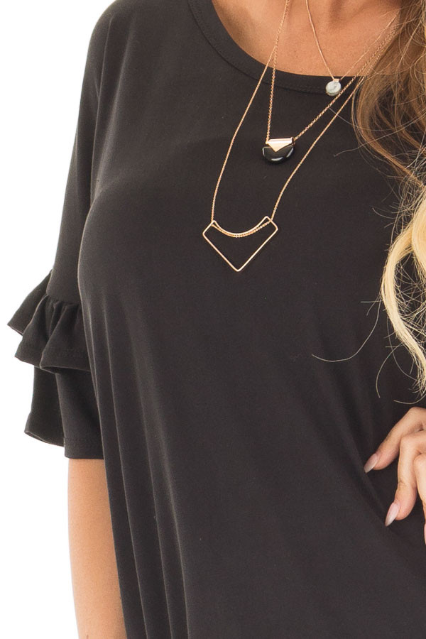 Black Top with Ruffle Detail Sleeves front detail