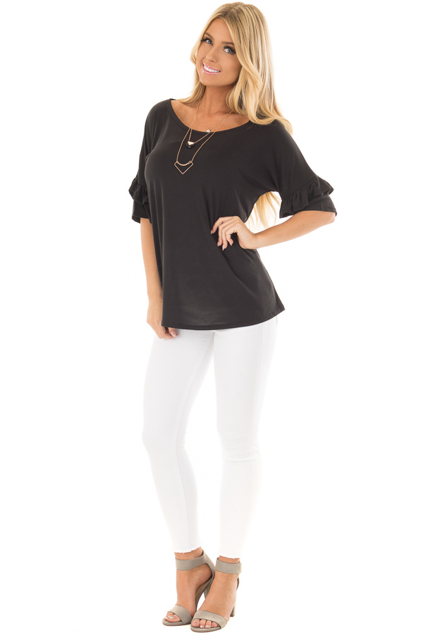 Black Top with Ruffle Detail Sleeves front full body