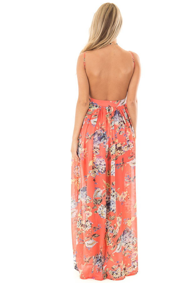 Coral Floral Print Open Back Maxi Dress back full body