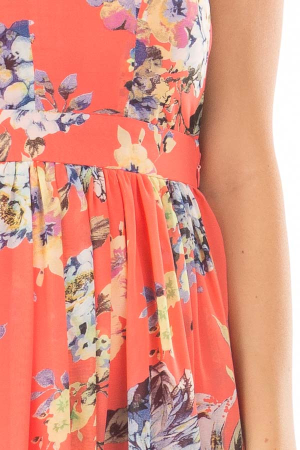 Coral Floral Print Open Back Maxi Dress front detail